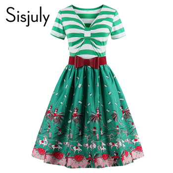 Sisjuly femmes patchwork bande manches summer party robes imprimer fleur avec mignon arc 1950 s femmes robes vintage robes