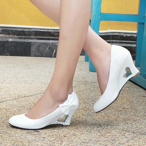 JF-1 casual PU wedges ladies shoes lovely Round Toe slip-on women pumps<br><br>Aliexpress