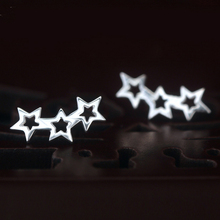 Magic Pieces Curved Stunning Triple Linked Stars Contemporary Stud Earrings, Stylish Glaxy Inspired 925 Sterling-Silver-Jewelry(China)