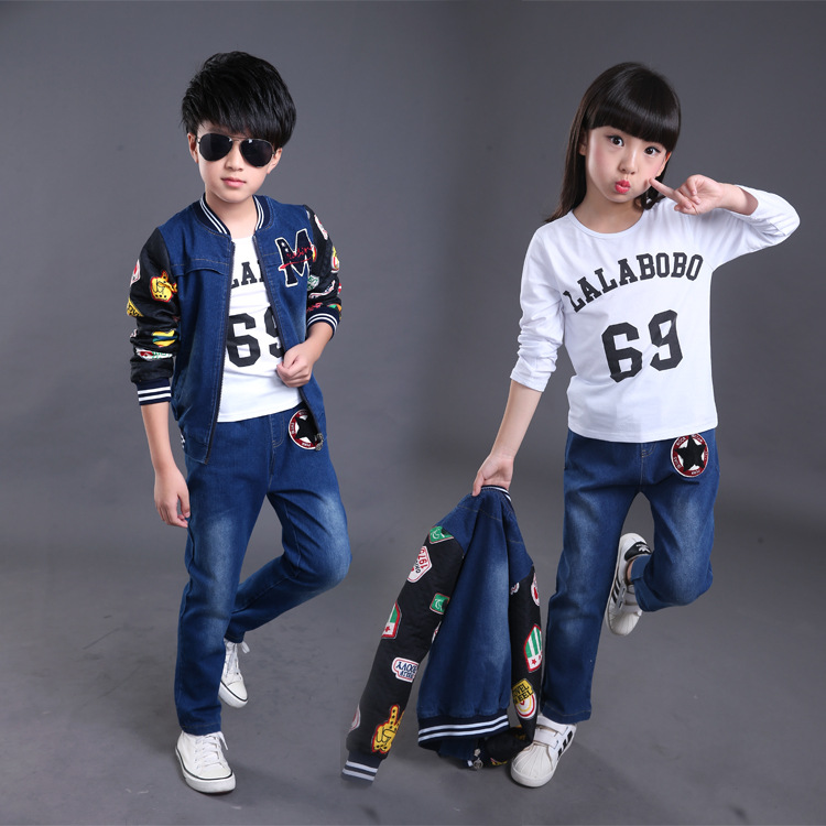 Fashion high quality 2016 denim jacket and pants children clothing set for big boys and girls<br>