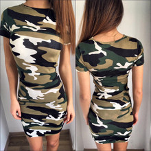 New 2016 women camouflage Military dress summer style short sleeve mini party dresses sexy slim fit vestidos female vestido WQ97