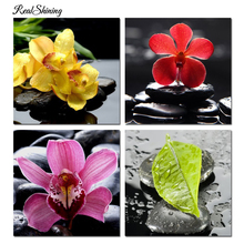 REALSHINING 3D Diamond Painting Orchid Flower Crystal Square Rhinestone Picture Cross Stitch Kits diy Diamond Embroidery R104