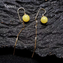 Yoowei 9.8mm Natural Amber Earrings for Women 925 Sterling Silver Yellow Gold Color Long Dangle Earring pendientes mujer moda(China)