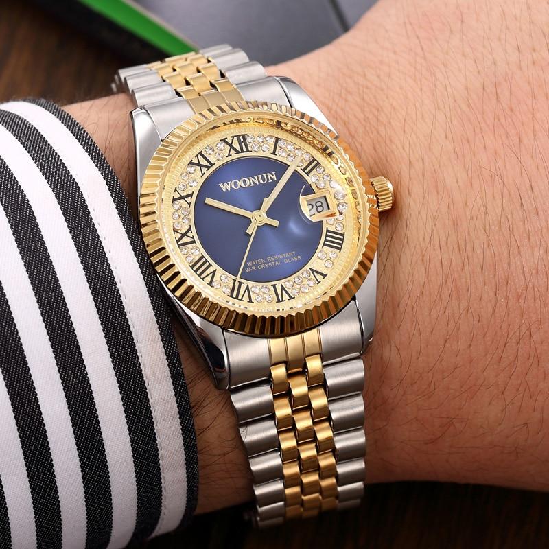 WOONUN Mens Watch Top Brand Luxury Fashion Steel Band Diamond Quartz Watches For Men Business Men Gold Watch relogio masculino<br>