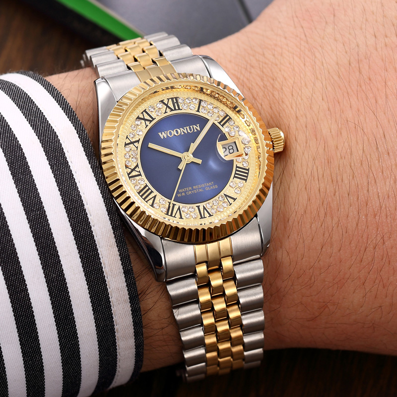 WOONUN Top Brand Logo Luxury Gold Watches Men Silver Gold Steel Band Analog Quartz Date Rhinestone Diamond Watches For Men Reloj<br><br>Aliexpress