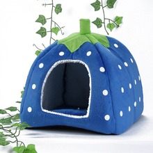 Portable Strawberry Design Dog House For Pet Cat Dog Indoor House Mat Kennel Nest Cage