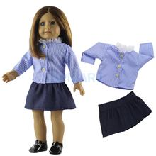 Long Sleeve Checked Shirt & Mini Skirt Set Outfit Clothes for 18'' American Girl/Our Generation/My Life/Journey Doll(China)