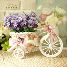 PE storage rattan tricycle + flowers crafts vase artificial flowers basket  wedding decoration christmas