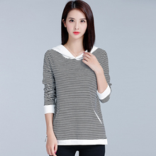Buy Femme Tees 2017 Autumn Winter Mujer Tops Hooded T Shirt Women Striped Womens T-Shirts Long Sleeves T-Shirt Casual Woman Clothing for $22.99 in AliExpress store