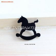 (80pcs/lot) Black Rocking Horse Eco-Friendly Acrylic Christmas Crafts Art Projects -AC1017B