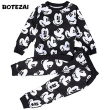 2017 Baby Boys Girls Fashion Sport Suit Kids Mickey Clothes Children's Sweater + Trousers two pieces Clothing Set Cotton Jerseys(China)
