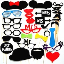 Photo Booth Props 34Pcs/Set wedding party decoration DIY Photo booth Party Masks Mustache On Stick Event Wedding Birthday Party