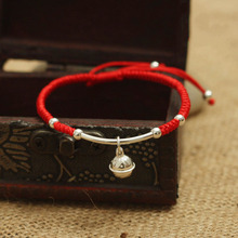 S925 Sterling Silver Bell Lucky Red Rope Shamballa Bracelet Handmade Bangle Wax String Amulet High Quality Jewelry(China)