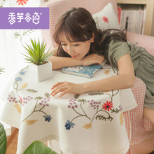 Rural Style Chinese Tranditional Embroidered Table cloth White Fresh Tablecloth Many Size For Choice