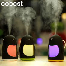 USB Night Light 150ML Penguin Air Humidifier Cool Mist Aroma Humidifier Colored LED Lamp for Office Bedroom Baby Room(China)