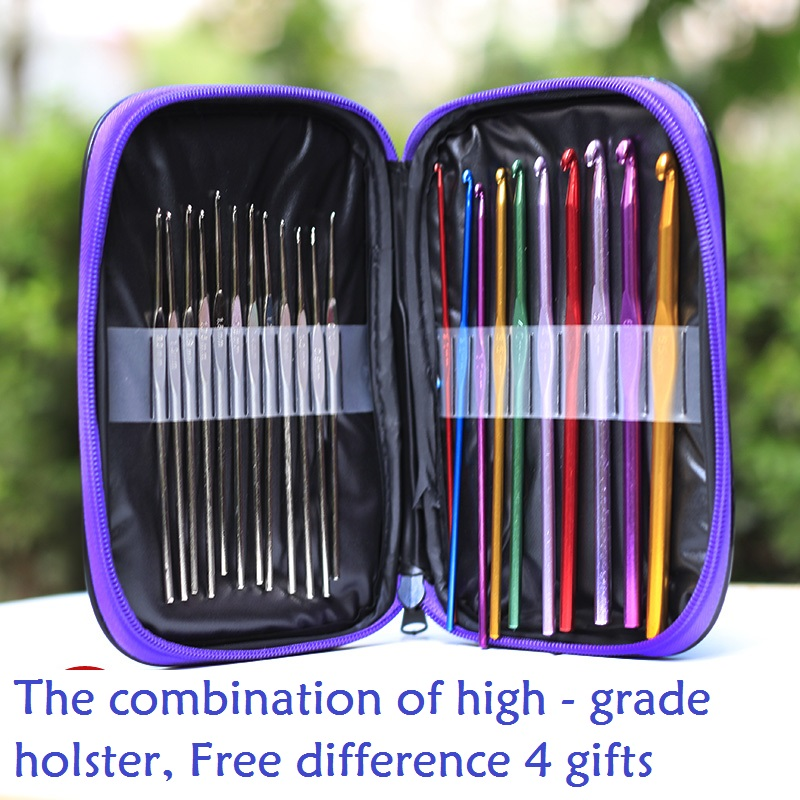 3 style Knitted Tools Sweater Multicolour Silver Metal Hook Needle Skin Set 22 Crocheted Free Shipping(China (Mainland))