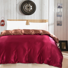 Wine red and brown Luxury Silk Twin Full Queen King Size Duvet Cover Tribute satin quilt cover Luxury Home Textiles Quilt sets(China)