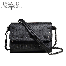LYKANEFU Fashion Black Rock Skull Bag Women Messenger Bags Designer Handbag Clutch Purse Bag Bolsas Femininas Couro Dollar Price(China)