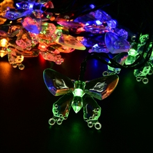 Solar Lamps 6M 30LEDs Colorful Butterfly Christmas Outdoor Waterproof Solar Battery Powered LED Lights Party Holiday Decoration