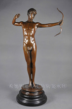 Art Deco Signed Dancer Bronze Sculpture Marbl Pull warrior DS-069 of bow Statue Figure Garden Decoration 100% real Brass Bronze(China)