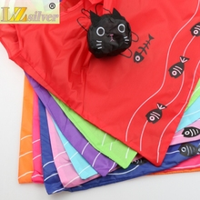 New 39.5X38CM 8Colors Cute Useful Animal Cat Fish Bone Nylon Foldable Eco Reusable Shopping Bags GB017