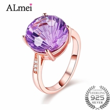 Almei Women 4ct Amethyst Rose Gold Color Wedding Rings 925 Sterling Silver Gemstone Jewelry Bijoux Femme with Gift Box 40%FJ012
