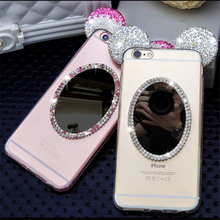 Luxury fashion Case For iPhone 6 Plus Cute Crystal Rhinestone mouse Head ear Mirror Soft Phone case For iPhone 6S 7 Plus 5 5S SE(China)