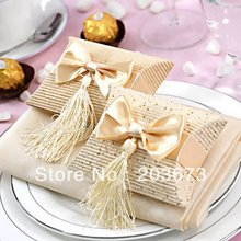 12pcs Beige Paper Pillow Boxes For Gifts,wedding Favors And Gift Bag Tassel,wedding Candy Box Gift Box With Bow And Tassel