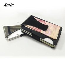 XINIU 2017 Business ID Credit Card Holder For Women Men Metal Wallet Aluminum Wallet With Blocking free shipping(China)