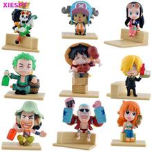 XIESPT 9pcs/lot Anime One Piece Full Set Action figures Model Toy Assembly Leisure Life Pirates Group