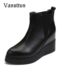 Wedges Heel HEE GRAND Fashion Boots Women Winter Elegant All-match Black Boots Platform Shoes Single Boots