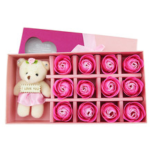 Rose Flower Soap flower and bear gift box hot sale  Decorative Flowers and Wreaths hot sale