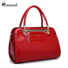 New arrival brand CROCO design OL patent Leather women bag candy colors Trendy shoulder bags fashion lady handbag WLHB1040(China)