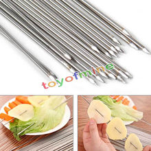 4/10PCS 38CM Food Camping Picnic vegetable Needle BBQ Barbecue Stainless Steel Grilling Kabob Kebab Flat Skewers