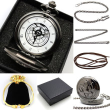 New Gift Boxed Fullmetal Alchemist Edward Elric's Pocket Watch with chain Cosplay Anime boy leather strap wish gift bag gift box