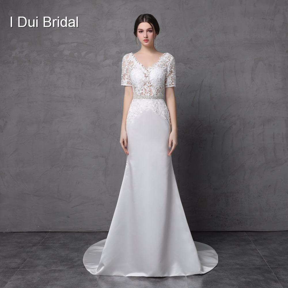 Short Sleeve V Neck Lace Sheath Wedding Dresses Low Back Satin Lace Bridal Gown with Belt Factory Custom Made Real Photo