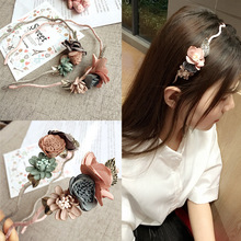 Korea Spring Flowers Hand made Fabric flowers Retro Hair Accessories Hair Bows Crystal Crown Hair B Headbands For Girls(China)