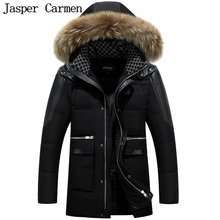 Free Shipping Men's Outwear Long Down Jacket Winter Thickened Fur Collar Hooded Jacket Fashion Slim Men's Thick Coat WN 265