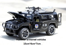 1:32 Hummer armored car model alloy model Sound and light back to force  6 open the door