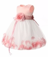 2016 new Girls 1 year Birthday Party Dresses Petals Princess Baby Girl Christening Dress Toddler Girl Tutu Dresses For Newborn(China)