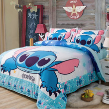 3d cartoon Stitch bedding set 3/4pc Bedspread Single Twin Full Queen King Size Bedclothes Kids Girl Boy Bedroom Decor Blue Color