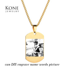Punk Rock Engrave Monogram Name Plate Necklace Custom Pictures Photo Stainless Steel Necklace For Women Gift(China)