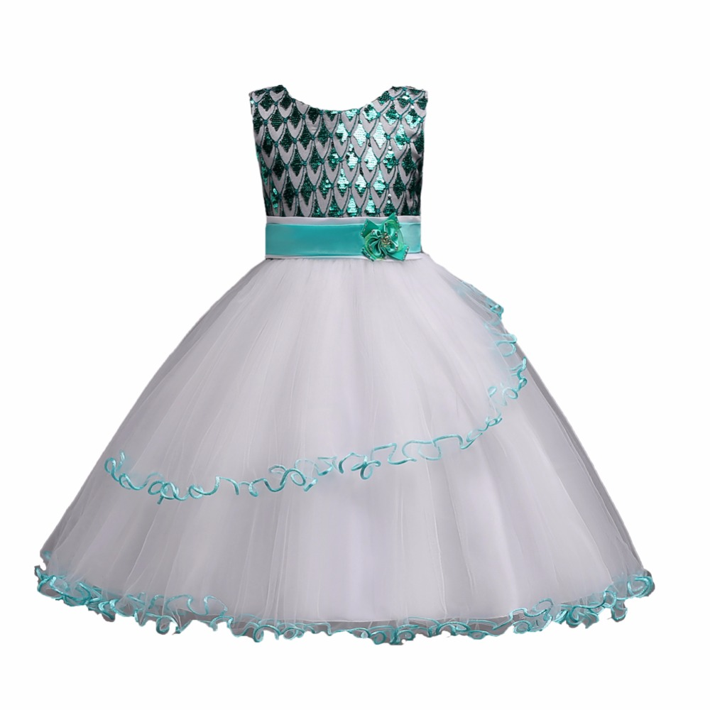 Dress For Girls 4 to 16Years Sequined Princess Dresses for Wedding Party Sundress Dress Clothes For Floral Girls Dresses Bule<br>