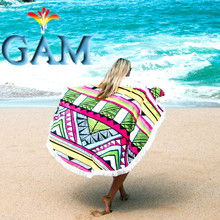 150cm Round Beach Towels High Quality Microfiber Fabric Ultra Soft Water Absorbent Woven Jacquard Beach Towel With Tassel Plage