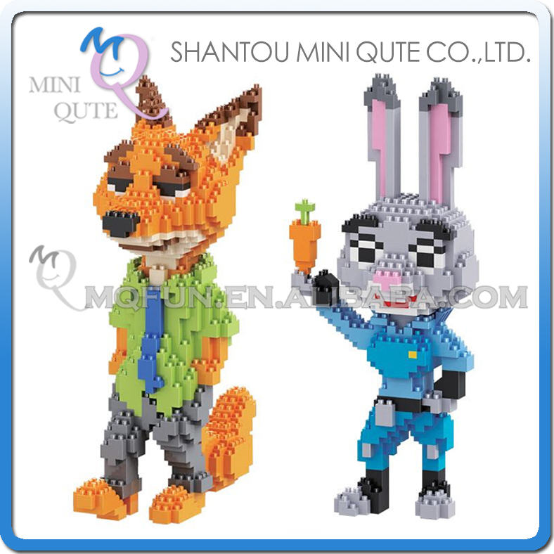 Mini Qute Full Set 2 pcs/lot HC Zootopia Huge Nick Wilde Judy Hopps plastic building block cartoon model educational toy NO.9011<br>