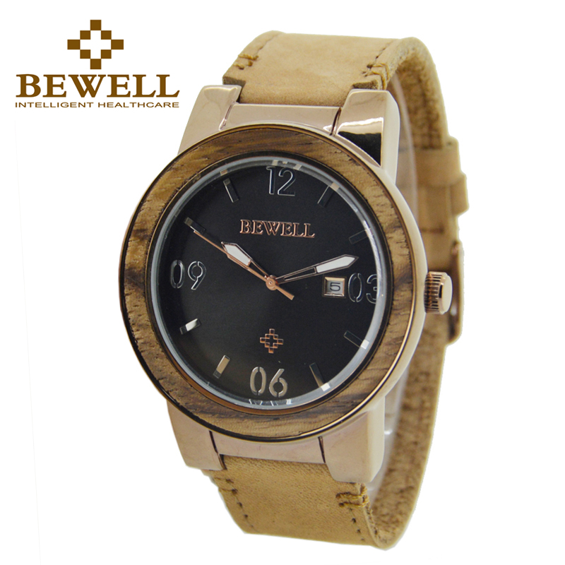 BEWELL Top brand Quartz Men Watch Alloy Watch Case and Leather Band Waterproof 30 Bar with Box ZS-W1050<br>