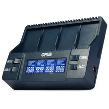 Opus BT-C900 Intelligent Digital 4 Slots LCD Multifunction 9V Li-ion battery Charger EU US Adaptor