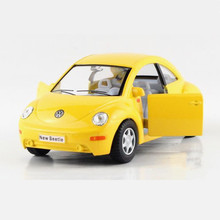 1:32 Diecast Metal + ABS Volkswagen Beetle Toy Car Brinquedos, KINSMART Pull Back Cars Toys For Children, Doors Openable Models(China)