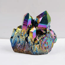 "1pcs Rainbow Aura Titanium Coated Crystal Cluster,Quartz Drusy Geode Gem stone Specimen,Each Stone is Unique (approx 1.5"")(China)"