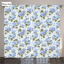 Curtains Dots Light Blue Hydrangea Flowers Home Decor Collection Artistic Design Print Living Room Bedroom 2 Panels 145*265 sm